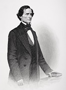 Male Drawings Framed Prints - Portrait of Jefferson Davis Framed Print by Mathew Bardy