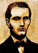 Bank Robber Paintings - portrait of Jesse James in Missouri by Vonfrese