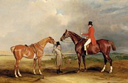 Sports Paintings - Portrait of John Drummond on a hunter with a groom holding his second horse by John E Ferneley