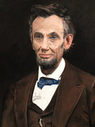 Abe Lincoln Painting Posters - Portrait of Lincoln Poster by Janet Poirier