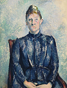 1960 Painting Posters - Portrait of Madame Cezanne Poster by Paul Cezanne