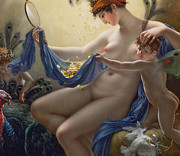 Nudes Paintings - Portrait of Mademoiselle Lange as Danae by Anne Louis Girodet de Roucy Trioson