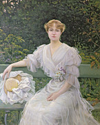 White Dress Painting Prints - Portrait of Marguerite Durand Print by Jules Cayron