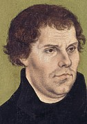 Theology Framed Prints - Portrait of Martin Luther aged 43 Framed Print by Lucas Cranach