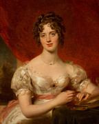 Silk Paintings - Portrait of Mary Anne Bloxam by Thomas Lawrence