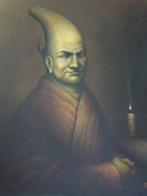 Candle Lit Prints - Portrait of Monk Takuan Print by Jamen Chai