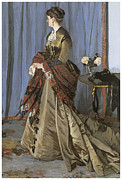 Fine Art  Of Women Paintings - Portrait of Mrs. Gaudibert by Claude Monet