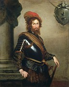 Armor Paintings - Portrait of Nicolo Raggi by Bernardo Strozzi