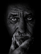 Positive Attitude Prints - Portrait of old man Print by Balazs Kovacs