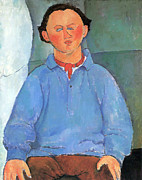 Amedeo Modigliani Framed Prints - Portrait of Oscar Framed Print by Amedeo Modigliani