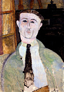 Amedeo Painting Posters - Portrait of Paul Guillaume Poster by Amedeo Modigliani