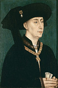 Rogier Van Der Weyden Posters - Portrait of Philip the Good  Poster by Rogier van der Weyden