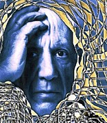Linocut Prints - Portrait of Picasso Print by Dan Twyman