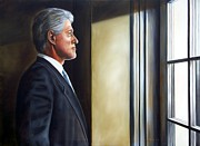 Portrait Of President William Jefferson Clinton In Profile Print by RB McGrath