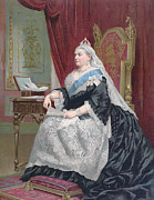 Enthroned Prints - Portrait of Queen Victoria Print by English School