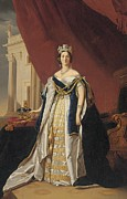 The Royal Family Framed Prints - Portrait of Queen Victoria in coronation robes Framed Print by Franz Xaver Winterhalter