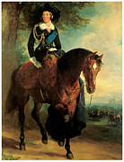 Victoria Paintings - Portrait of Queen Victoria on Horseback by Francis Grant
