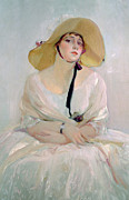 White Dress Posters - Portrait of Raquel Meller Poster by Joaquin Sorolla y Bastida