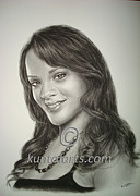 Rihanna Drawings Originals - Portrait of Rihanna by Kuntal Chaudhuri