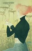 Red Hair Drawings Prints - Portrait of Sarah Bernhardt Print by Manuel Orazi
