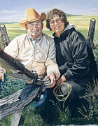 Couple Pastels Prints - Portrait of Shellys parents Print by Karen Barton