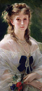Blue Necklace Posters - Portrait of Sophie Troubetskoy  Poster by Franz Xaver Winterhalter