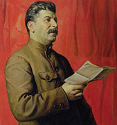 Russia Metal Prints - Portrait of Stalin Metal Print by Isaak Israilevich Brodsky