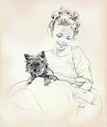 Pup Drawings Framed Prints - Portrait of Sylwia Framed Print by Anna Ewa Miarczynska