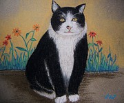 Cat Portraits Pastels Prints - Portrait of Teddy The Ninja Cat Print by Reb Frost