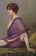Chaise Painting Prints - Portrait of th ecourturier Madame Paquin Print by Henri Gervex