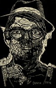 Lino Prints - PORTRAIT of the ARTIST in a Fedora final stage Print by Charlie Spear