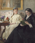 Reading Posters - Portrait of the Artist s Mother and Sister Poster by Berthe Morisot