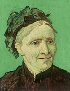 Green Background Posters - Portrait of the Artists Mother Poster by Vincent van Gogh