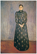 Edvard Munch Posters - Portrait of the Artists Sister Inger Poster by Edvard Munch