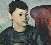 Portraiture Art Prints - Portrait of the Artists Son Print by Paul Cezanne