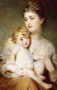Blonde Hair Framed Prints - Portrait of the Duchess of St Albans with her Son Framed Print by George Elgar Hicks
