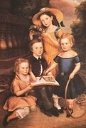 American Revolution Paintings - Portrait of the Emery Children by Unidentified Artist