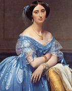 Satin Dress Painting Framed Prints - Portrait of the Princesse de Broglie Framed Print by Jean Auguste Dominique Ingres