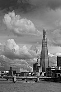 Shard Framed Prints - Portrait of the Shard black and white version Framed Print by Gary Eason