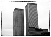 Twin Towers Of The World Trade Center Framed Prints - Portrait of the Towers 1990s Framed Print by John Rizzuto