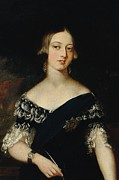 Figure In Oil Posters - Portrait of the young Queen Victoria Poster by English School