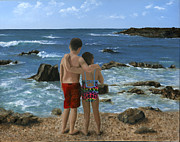 Children At Beach Posters - portrait of two children at Beach Poster by Cecilia  Brendel