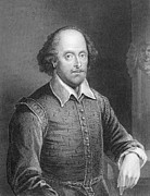 Writer Drawings Metal Prints - Portrait of William Shakespeare Metal Print by English School