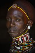 Indigenous Culture Framed Prints - Portrait Of Young Samburu Man Framed Print by Toby Adamson