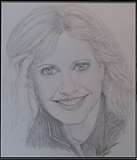 Star Drawings Framed Prints - Portrait Olivia Newton-John Framed Print by Melissa Nankervis
