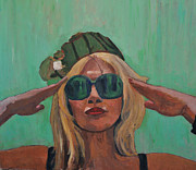 Portraits Paintings - Portrait on Green by Roberto Del Frate