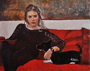 Portraits Paintings - Portrait on the sofa by Roberto Del Frate