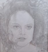 Pencil On Canvas Metal Prints - Portrait Sigrid Thornton Metal Print by Melissa Nankervis