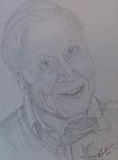 Pencil On Canvas Metal Prints - Portrait Sir David Attenborough Metal Print by Melissa Nankervis