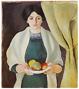 Macke Posters - Portrait with Apples Poster by Auguste Macke